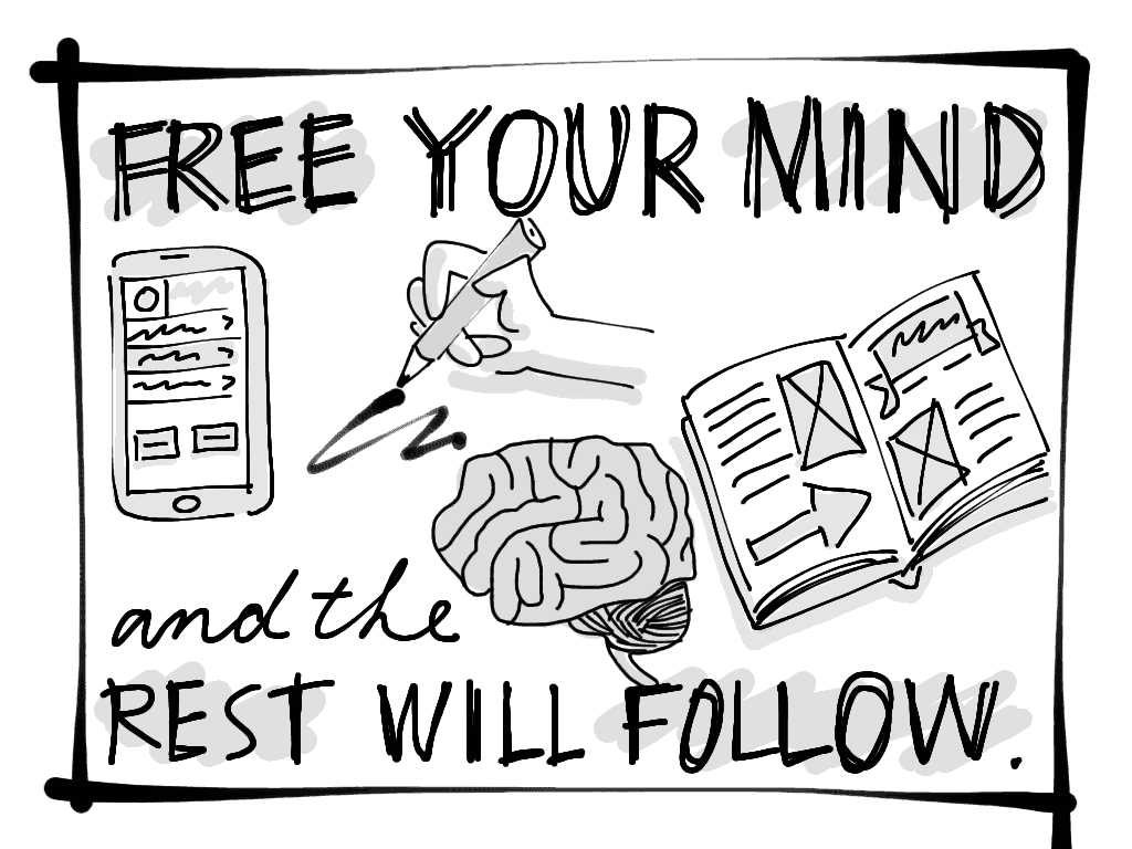 A little sketch that reads 'Free your mind, and the rest will follow.'