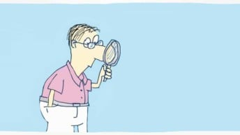 An illustration of a UX designer exploring with a magnifying glass