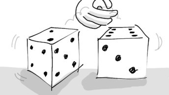 Two dice rolling