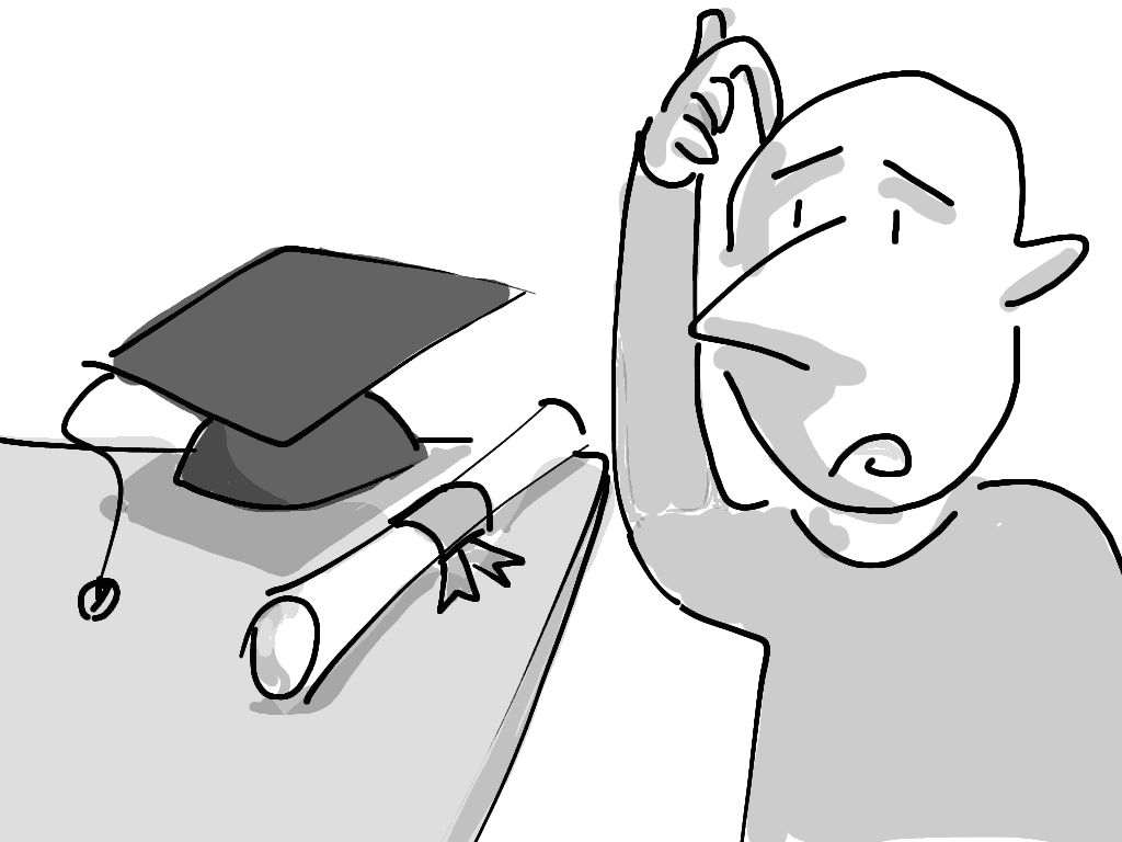 A confused student looks at a mortarboard and a rolled-up degree, and wonders whether it is worth the trouble.